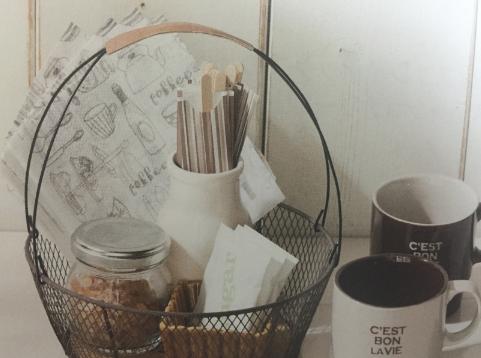 ワイヤーアレンジのカフェ・バスケット 画像